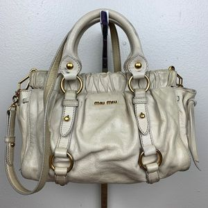 Miu Miu Snap Leather Ivory Satchel